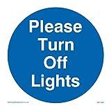 Viking Signs MV1463-S85-V'Please Turn Off Lights' Sign, Vinyl, 85 mm H x 85 mm W