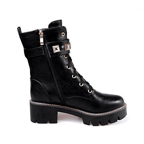 VogueZone009 Damen Hoher Absatz Eingelegt Rund Zehe Reißverschluss Stiefel mit Rivet Set, Schwarz, 42