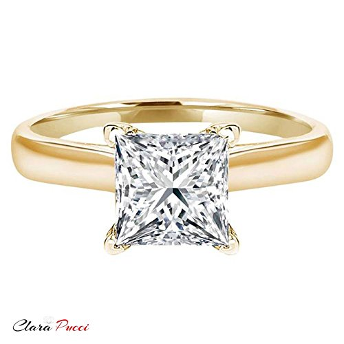 Clara Pucci 2.9 CT Princess brilliant Cut Solitaire Bridal Engagement Wedding Ring 14k Yellow Gold