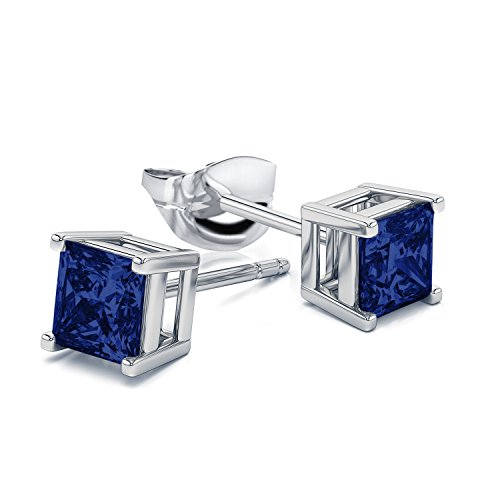 Women 6MM Sterling Silver Created Blue Sapphire Stud Earrings … (Square)