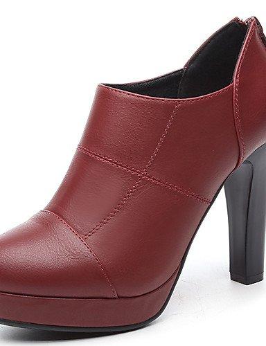 ZQ Zapatos de mujer-Tac¨®n Cono-Tacones-Tacones-Vestido / Fiesta y Noche-Semicuero-Negro / Bermell¨®n , black-us8 / eu39 / uk6 / cn39 , black-us8 / eu39 / uk6 / cn39 burgundy-us6.5-7 / eu37 / uk4.5-5 / cn37