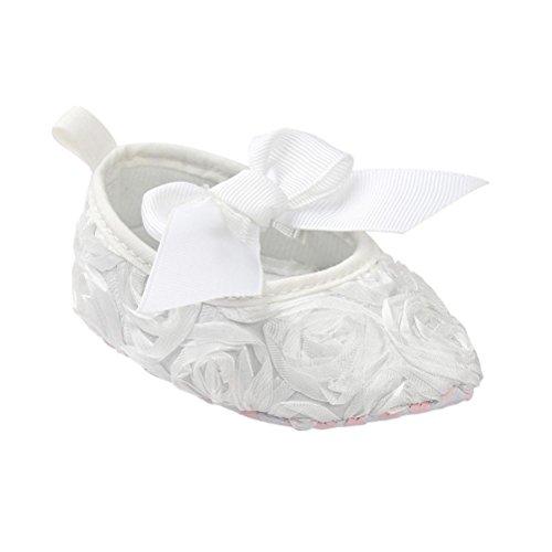 Tefamore princesa zapatos de bebé inferiores suaves resbaladiza moda primer paso del arco caliente del invierno Blanco