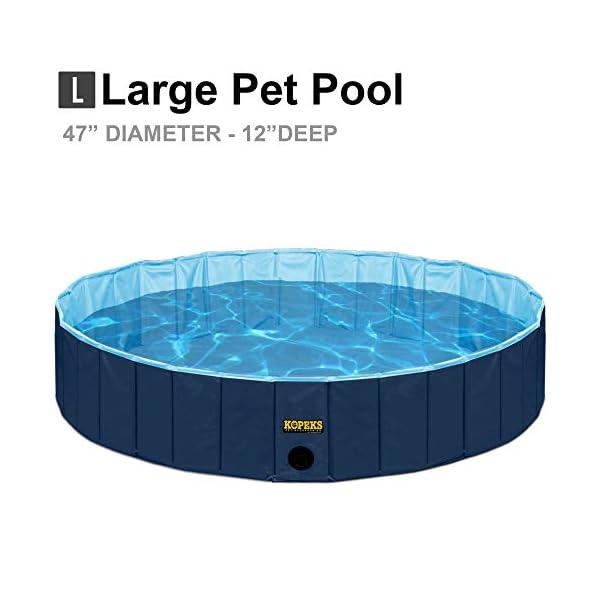 KOPEKS Piscina Grande Infantil Ideal para Niños/Mascotas Perros 120 x 30 cm – Azul Marino y Celeste – L
