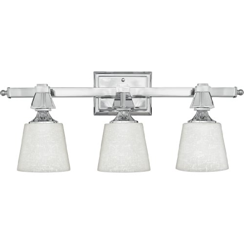 Quoizel DX8603C, Deluxe Glass Wall Sconce Lighting with Shades, 3LT, 225 Total Watts, Chrome - Contemporary Deluxe Lighting Fixture