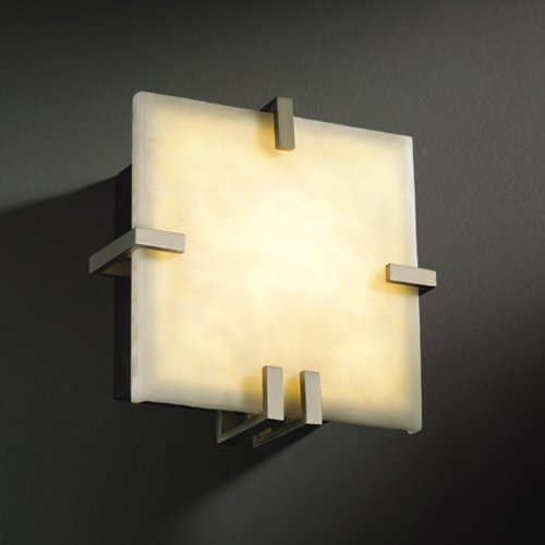 Justice Design CLD-5550-CROM Clips Square Wall Sconce (ADA), Choose Finish: Polished Chrome Finish, Choose Lamping Option: Standard Lamping (5550 Square Clips)