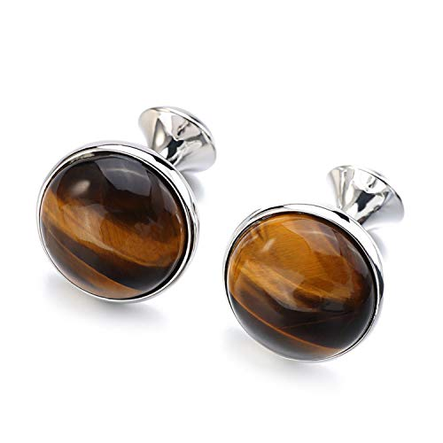 JIA-WALK Tiger-Eye Stone Cufflinks for Mens Gold Color Plated Brand Round Stone Cuff Links Best Gift,Silver - Eye Stone Cufflinks Tigers