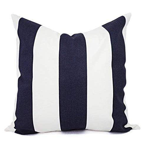 Blue Pillows Navy And White Striped Pillow Cover Custom Pillow Sham Decorative Pillow Case 16 X 16 Inch 18 X 18 Inch 20 X 20 Inch Throw Pillow Handmade