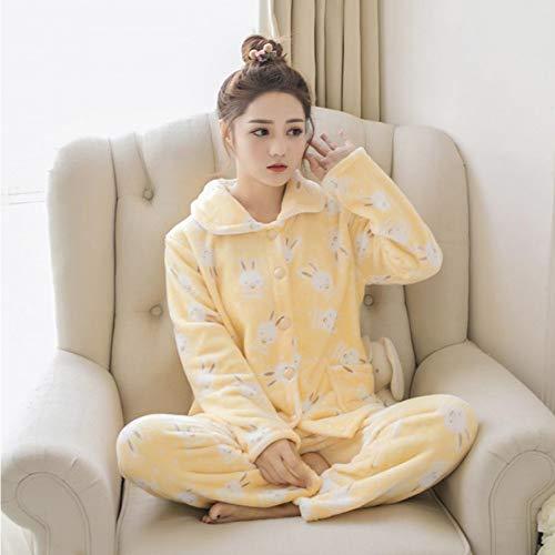 Conjunto Invierno Animados Huang Paquete Tu Jylw R X Mujeres Pijamas De Peluche Cálido Pijama Traje Zi Grueso Camisón Dibujos Mujer 8tw5p