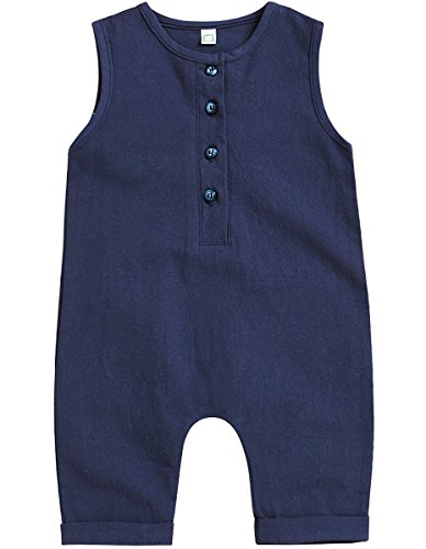 Mini honey Infant Toddler Baby Girl Boy Sleeveless Romper Jumpsuit Shorts Summer Outfit Clothes (6-12 Months, (Baby Boy Light Blue Romper)
