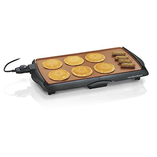 , Hamilton Beach 38518R Durathon Ceramic Griddle, 200 sq. in, Black