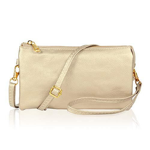 Convertible Vegan Leather Wallet Purse Clutch - Small Handbag Phone/Card Slots & Detachable Wristlet/Shoulder/Crossbody Strap (Pebbled - Champagne Gold)