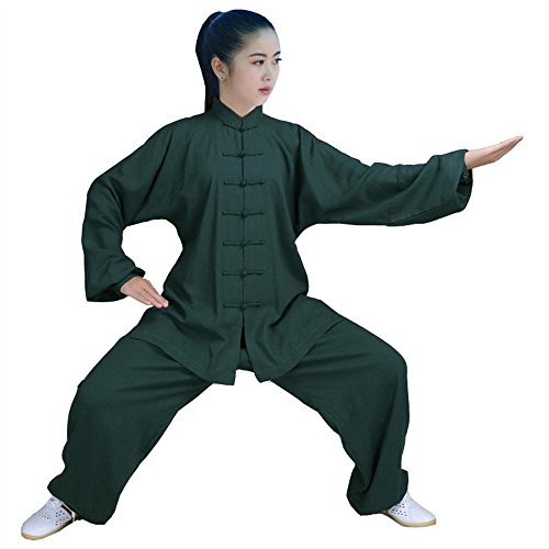 ZooBoo Womens' Kung Fu Uniform Martial Arts Tai Chi Clothing Exercise Suit (Dark Green, XL)