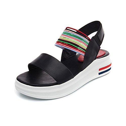 LIXIONG Portátil Suelas espesas de las sandalias Verano femenino Una fuente Gama del color Vientre de la universidad zapatos planos Zapatos cómodos simples ocasionales -Zapatos de moda ( Color : A , T A