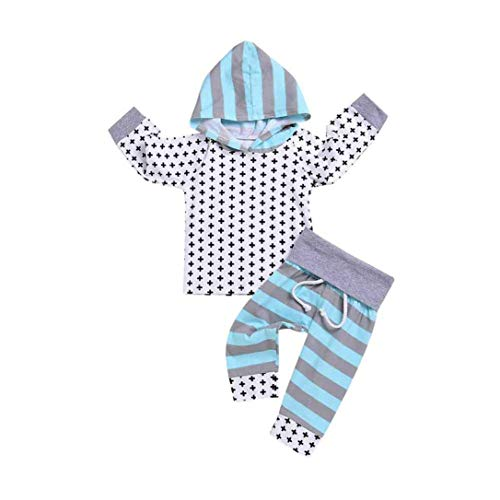 2pcsToddler Baby Infant Hooded Sweatshirt Stripe Print Top Clothes Long Pants Elastic Waistband Trouser Set Outfit (White, 18-24 Months) -