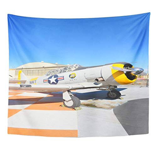 Emvency Tapestry Orange Irvine Ca January 31 SNJ Texan WWII Era Plane on Display at The Great Park in California Home Decor Wall Hanging for Living Room Bedroom Dorm 50x60 Inches