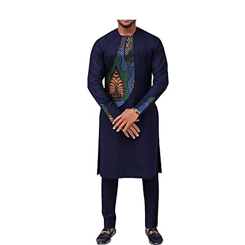 (African Ankara Print Men Suit Long Sleeve O-Neck Knee-Length Top+Ankle-Length Pants 100% Batik Cotton Made AA731606 414J XL)