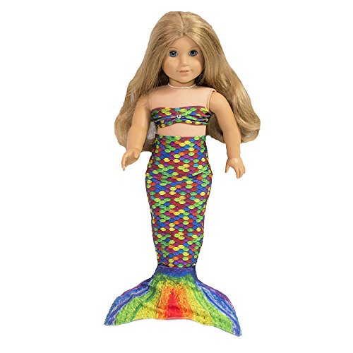 Fin Fun Mermaid Tail Outfit for 18 Inch Doll like American Girl - Serena's Rainbow Reef