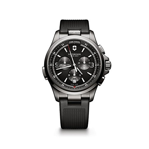 (Victorinox Men's Night Vision Titanium Swiss-Quartz Watch with Rubber Strap, Black, 21 (Model:)