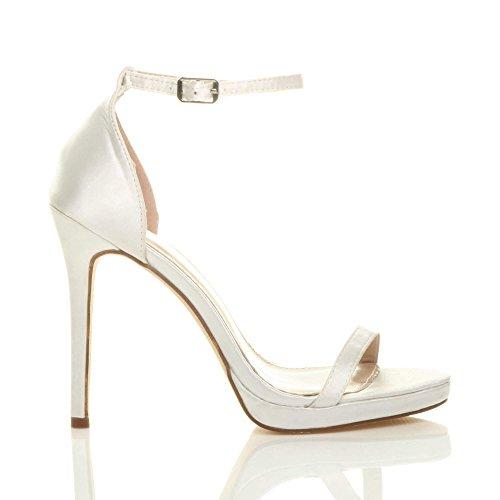cinturino alto fibbia tacco Donna sandali numero plateau Raso spillo scarpe Bianco con qxTHB1B6w