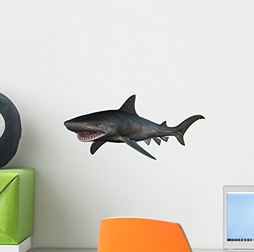 Wallmonkeys Tiger Shark Wall Decal Peel and Stick Animal Graphics (12 in W x 9 in H) WM176042