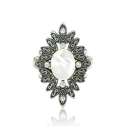 Habeats Womens Vintage Silver Flower Statement Ring, Size 7