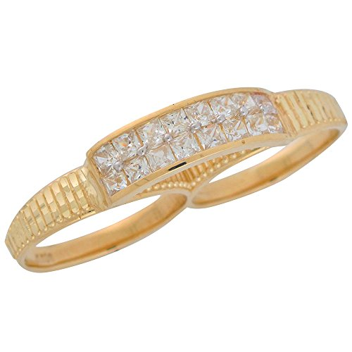 14k Real Yellow Gold White CZ Ladies Hip Hop Two Finger Ring with Diamond Cuts by Jewelry Liquidation