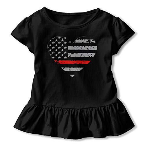 Girls' Short Sleeve Thin Red Line Heart Firefighter T-Shirts, Ruffled Tunic Shirt Dress with Flounces, 2-6T -