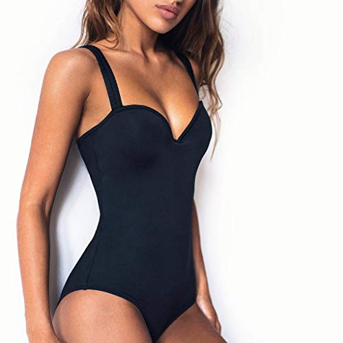 Damen Brasilien Push-up BH Bademode Monokini Mesh Bikini Schwimmanzug Badeanzug