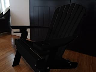 product image for Poly Recycled Plastic Adirondack Chair with One Cupholder- Black