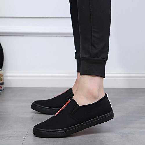 Shoes Canvas HUAN Shoes Mens Flat Casual Deck Loafers Shoes Black Espadrilles Students TwqYOZ