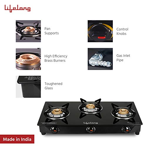 Lifelong Glass Top 3 Burner Gas Stove Manual Ignition Black Best price deals offers discounts
