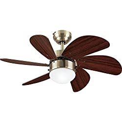 Westinghouse 78248 Turbo Swirl Single-Light 30-Inch Six-Blade Ceiling Fan, Antique Brass with Frosted Globe