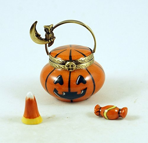 Authentic French Porcelain Hand Painted Limoges box Halloween Jack'o Lantern Pumpkin Basket with Removable Porcelain Candy