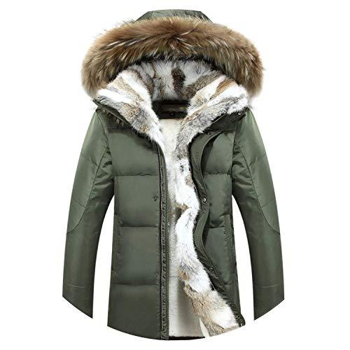 Fur Warm White Duck Feather Coat Long Winter Jacket Women Down Parka Rabbit Hair Outerwear,Medium,ArmyGreen