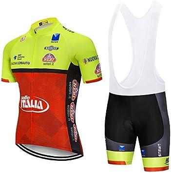 ZHLCYCL Traje Ciclismo Hombre, Maillot Ciclismo y Culotte Ciclismo con 5D Gel Pad para Verano Deportes al Aire Libre Ciclo Bicicleta, ITA-Orange, XXXXL: Amazon.es: Deportes y aire libre
