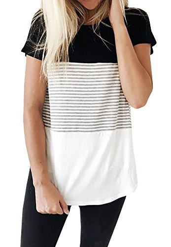 Imily Bela Women's Color Block Striped Patchwork Short Sleeve Loose T-Shirt Top Tees Blouse