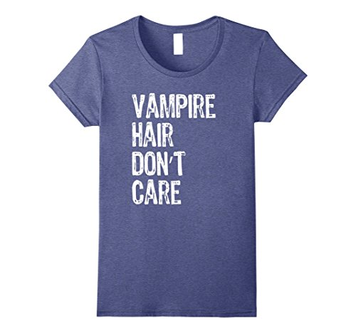 Womens Vampire Hair Don't Care Funny Halloween T-Shirt XL Heather Blue