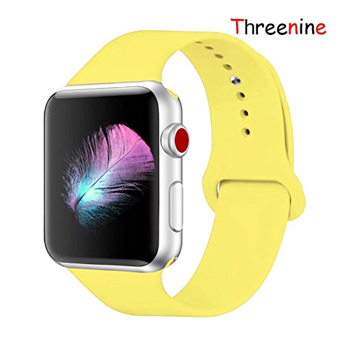 Threenine for Apple Watch Band, Durable Soft Silicone iWatch Strap Replacement Sport Band for Apple Watch Band Series 3 Series 2 Series 1 Sport, Edition (Pollen Yellow, 38mm S/M)