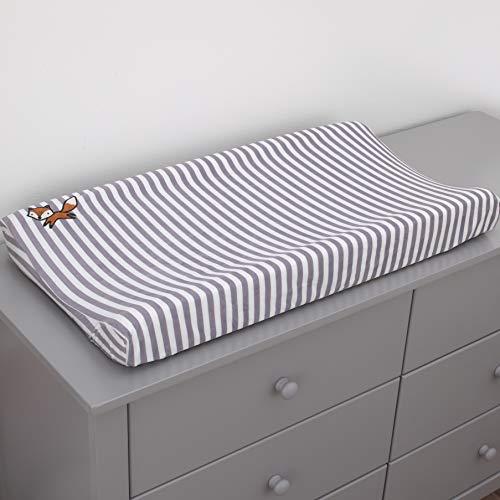 Little Love By Nojo Lil Fox, Grey, White Stripe Plush Changing Pad Cover With Orange Fox Applique, Grey, White, Orange