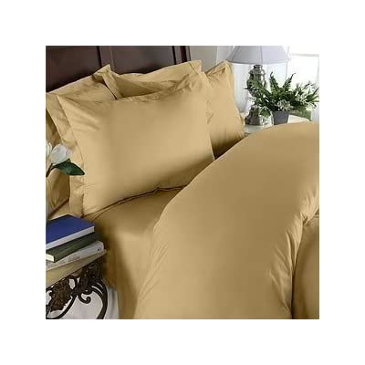 """Elegant Comfort 1500 Thread Count Egyptian Quality Super Soft Wrinkle Free and Wrinkle Resistant 4-Piece Sheet Set, Queen, Gold - 1 Flat Sheet (92"""" x 102"""") 1 Fitted Sheet (60"""" x 80"""") and 2 Standard Pillow Cases (20"""" x 30"""") Fits mattresses up to 14""""-16"""" deep with elastic all around the fitted sheet Micro fiber sheets are as soft as 1,500 thread count Egyptian cotton - sheet-sets, bedroom-sheets-comforters, bedroom - 41CHNqj%2BFeL. SS400  -"""