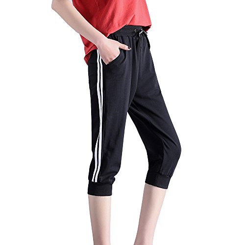 KDi Women's Shorts Jogger Sweatpants Running Trousers Tracksuit Capri Pants (L, 2# Black)
