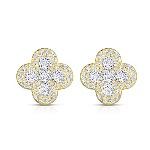 14k Ballerina - Unique Royal Jewelry 925 Sterling Silver Invisible Set Cubic Zirconia Four Leaf Clover Designer Post Pierced Cluster Earrings. (14K Yellow Gold Plated Sterling Silver)