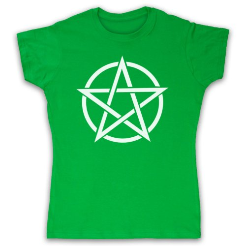 Pentagram Occult Symbol Camiseta para Mujer Verde