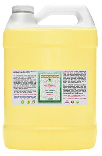 Jojoba Oil - Organic - Cold Pressed - 100% Pure - Natural - 128 Oz/1gallon Face - Hair - Beard - Skin - Body - Lips - Extra Virgin - Unrefined -Golden Fresh Cut by cocojojo