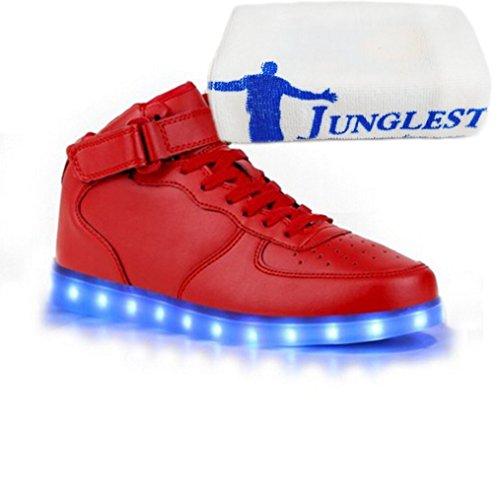 (Present:kleines Handtuch)JUNGLEST® 7 Farbe Lackleder High Top USB Aufladen LED Leuchtend Sport Schuhe Sportschuhe Sneaker Turnschuhe für Unisex-Erwachsene High Top mit Velcro Rot