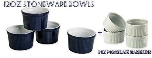 Bia Ramekins (BIA Cordon Bleu (Bowl Set of 4) - 12 oz. Porcelain Ramekins Bowls 12 ounce (BLUE) & (Bowl Set of 4) - 8 oz. Porcelain Ramekins)
