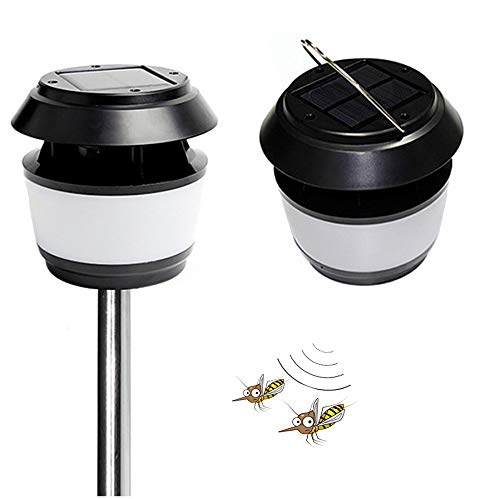 Lamp Repellent Mosquito (GutReise Ultrasonic Insect Repellent Portable Solar Powered Street Light Waterproof IP54 80LM Graden Outdoor Night Light Lampshades Light with Mosquito Repellent Lamp&Outdoor Light (1))