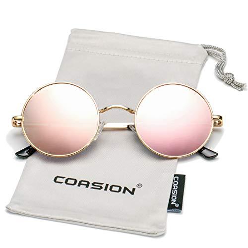 COASION Retro Small Round Polarized Sunglasses John Lennon Style Circle UV400 Sun Glasses (Gold Frame/Pink Mirror ()