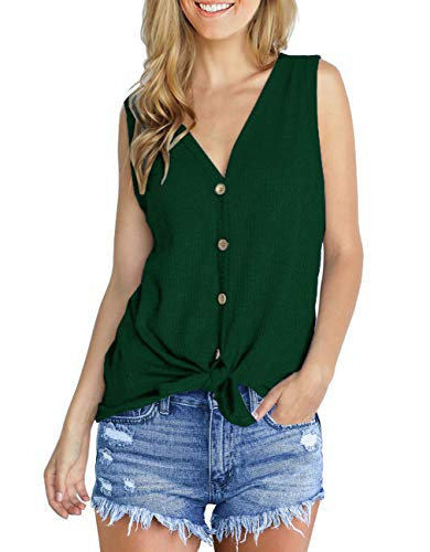 IWOLLENCE Womens Loose Henley Blouse Sleeveless Button Down T Shirts Tie Front Knot Tops Dark Green M ()