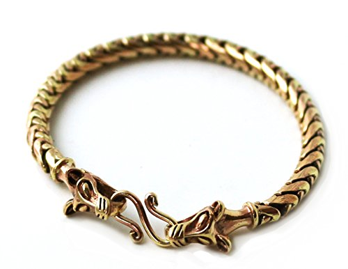 Star Fox Wolf Costume (Bronze Norse Viking Gold Tone 5 mm Snake Chain Wolf Bracelet for Men Women Pagan Jewelry (7 Inches))